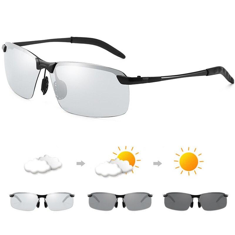 Rimless Polarized Sunglasses Men Driving Night Vision UV400 Goggles Alloy Photochromic Change Color