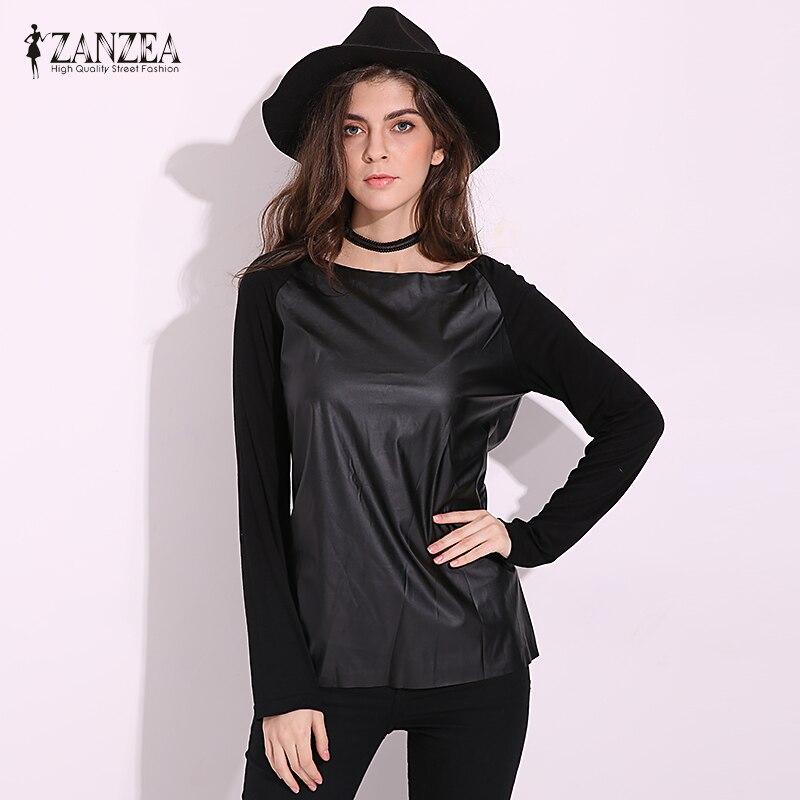 ZANZEA 2017 Women Fashion Autumn Casual Long Sleeve PU Leather Patchwork Blouses Contrast Color Slim Shirts Blusas Femininas