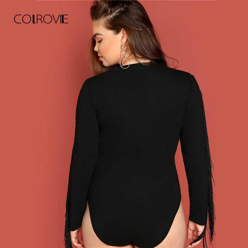 COLROVIE/большие размеры; черное однотонное элегантное боди с бахромой и длинными рукавами для женщин; коллекция 2018 года; сезон осень; модные пикантные офисные женские боди