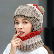 2019 Winter Hat scarf Set for Women Kitted Thicken ring Scarves with Masks Men Unisex hat Female set