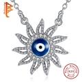 BELAWANG Luxury Necklace Jewelry Sun Shaped Blue Enamel Evil Eye Colar Pendant Cubic Zirconia 925 Sterling Silver Necklace Women
