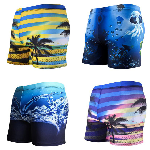 3D Sexy Male Swim Wear, Swimming Trunks, Men Swimwear Beach Shorts Sports Swim boxer Briefs Bottom Swimsuits Beachwear Plus Size
