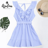 AZULINA Casual Blue Striped Women Dress Sweet Ruffle Mini Dress With Belt Sleeveless A Line Summer