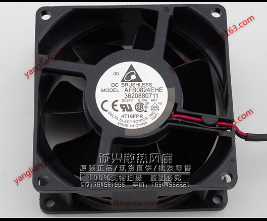 Free Shipping For DELTA AFB0824EHE DC 24V 0.70A, 80x80x38mm 2-wire Server Square Cooling Fan free shipping for delta pfb0848dhe ck2a dc 48v 1 00a 80x80x38mm 4 wire server square cooling fan