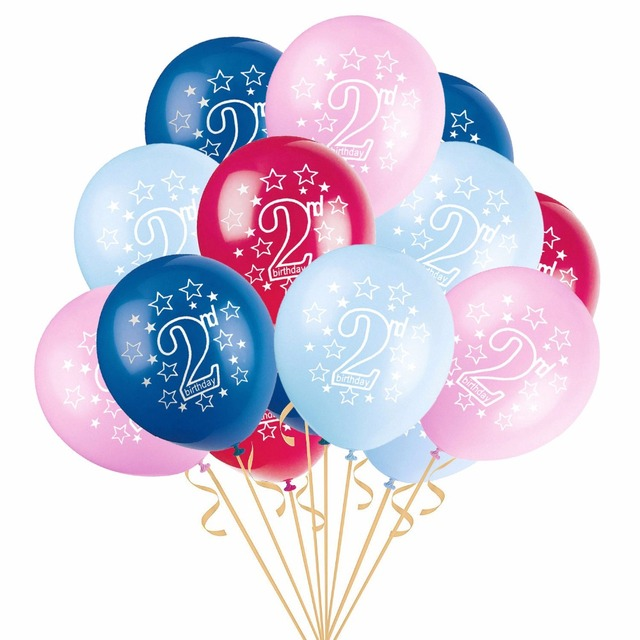 10 Pieces Baby Boy Girl Shower 2nd Birthday Balloons Pink Blue Latex Party Decorations 2 Year Old Kids Supplies