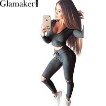 Glamaker Hooded long sleeve cut out elegant jumpsuit romper Autumn winter bodycon jumpsuit Sexy fitness women two piece outfits