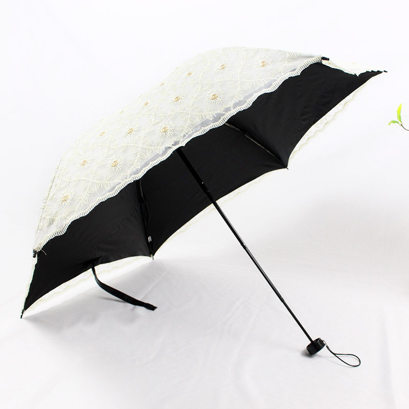 Embroidered small tri-fold umbrella lace girl ultra light folding double-layer two or carbon fiber