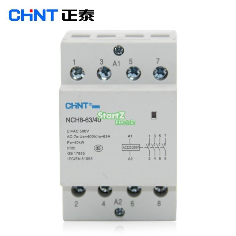 CHNT NCH8-63/40 63A 400 v 4NO Din rail Ménage AC Contacteur