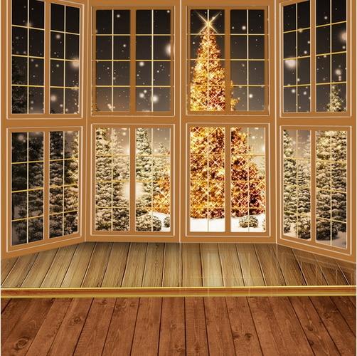 10x10ft Lattice Window Night Snowflakes Outdoor Gold