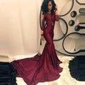 Africano Borgonha Manga Comprida Sereia Vestidos De Baile 2016 Ouro Apliques Capela Trem abendkleider 2016 kristall neue custom made