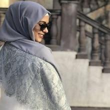 Dubbele Randen Kant Bloemen Chiffon Maxi Hijab Moslim Sjaal Lady Plain Sjaals Warps hoofd sjaal Arabische Vrouwelijke Turba Hals Cover