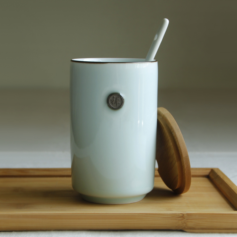 Handmade sculpture ceramic cup individuality brief with cover and spoon drink cup mug cup gift