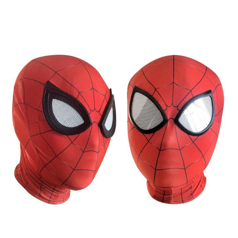 Hero Helmet Costume Linght Cosplay for Adult Red Yacn Spiderman Homecoming Hood Mask Led