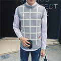 New Brand Men's Fashion O-neck Sleeveless Sweater Pullover Plaid Designer Knitwear Vest Christmas Sweater Pull Homme Trui