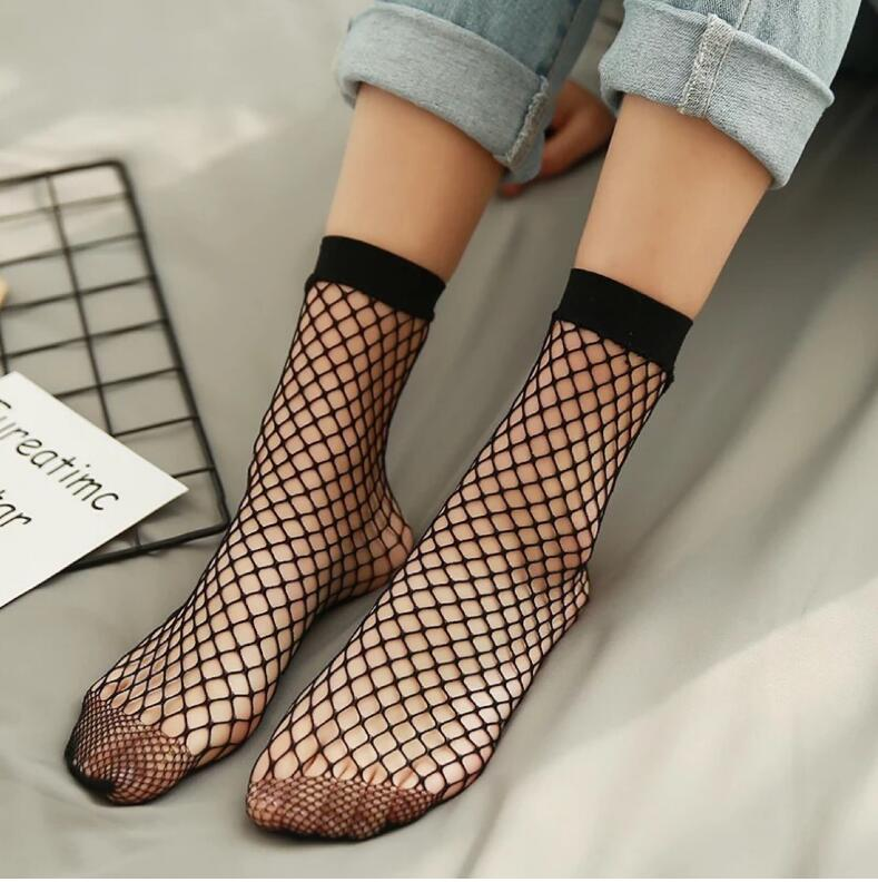 Chic Streetwear Women's Harajuku Candy Color Breathable Fishnet   Socks  .Sexy Hollow out Nets   Socks   Ladies Sweet Mesh Sox