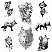 3D Lion Artist Temporary Tattoo Stickers Men Arm Timber Wolf Totem Waterproof Tatoos Women Forearm Maple Black Fake Tattoo Decal(China)