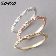 BOAKO Twisted Rope Hemp Flowers Ring Rose Gold Color Twist Classical Cubic Zirconia Wedding Engagement Ring For Women Size 6-10(China)