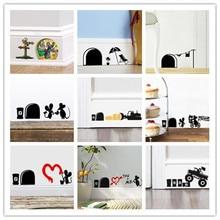 % Забавный мышь отверстие наклейки углу украшения подарок для ребенка DIY Adesivo де Паредес мультфильм животных Наклейка Фреска Искусство