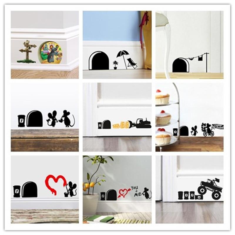 vicces egér lyuk matricák fal matricák sarok dekoráció gyerekek ajándék diy adesivo de paredes rajzfilm állatok matrica falfestmény