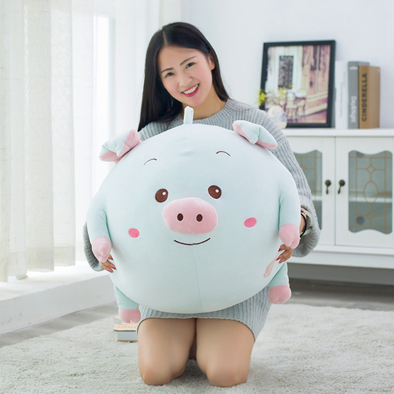 middle size plush cartoon pig toy new blue soft round pig pillow doll gift about 43x40cm