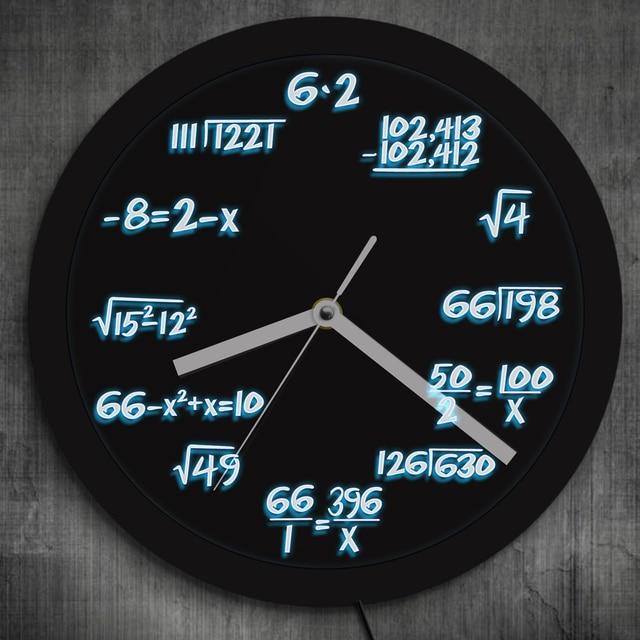 1Piece Math Wall Clock With LED Neon illumination Math Formula Pop Equation Luminous Wall Clock Scicence Educational Kid Gift