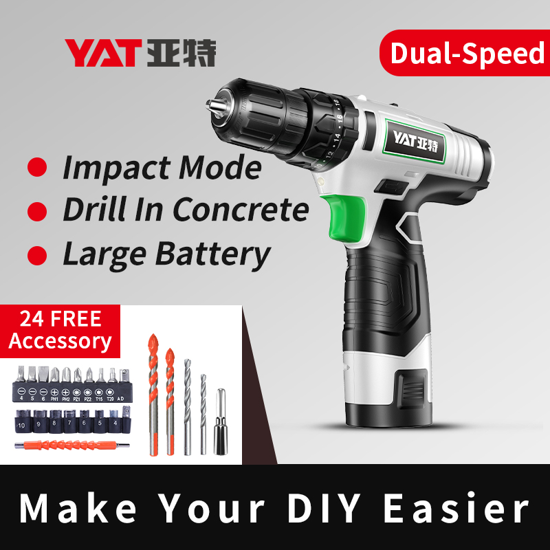 YAT 14.4V Cordless Drill DC Lithium-Ion Battery Power Drill with Accessories Electric Screwdriver Power Driver 3/8-Inch
