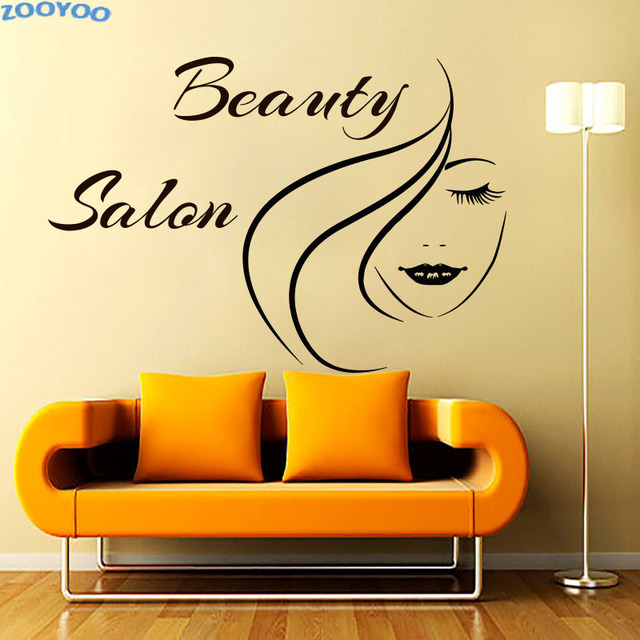 ZOOYOO Beauty Salon Wall Decals Girl\'S Face Outline Wall Sticker ...