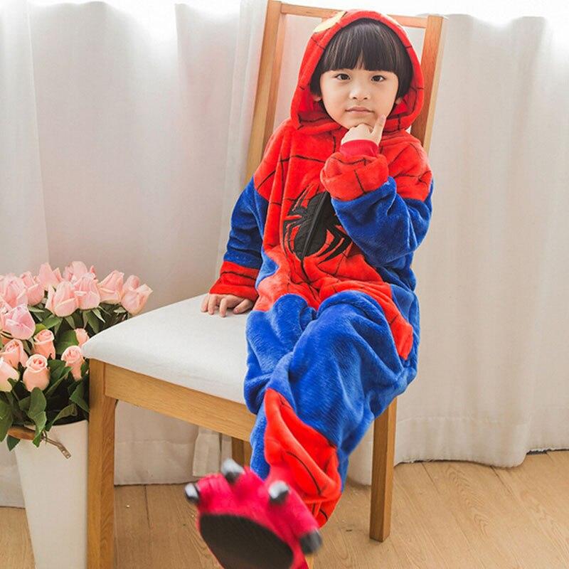 Kigurumi Spiderman Pajamas For Girl Boy Sleepwear 2019 Halloween Costume  Kid Winter Animal Spider Man Cosplay Onesie Suit Set