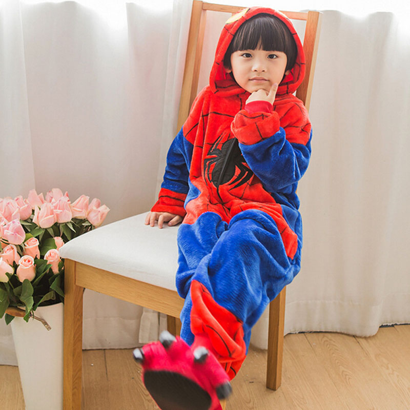 Rational Kigurumi Spiderman Pyjamas Für Mädchen Jungen Nachtwäsche 2019 Halloween Kostüm Kid Winter Tier Spinne Mann Cosplay Onesie Anzug Set Um Sowohl Die QualitäT Der ZäHigkeit Als Auch Der HäRte Zu Haben Nachtwäsche & Nachthemden