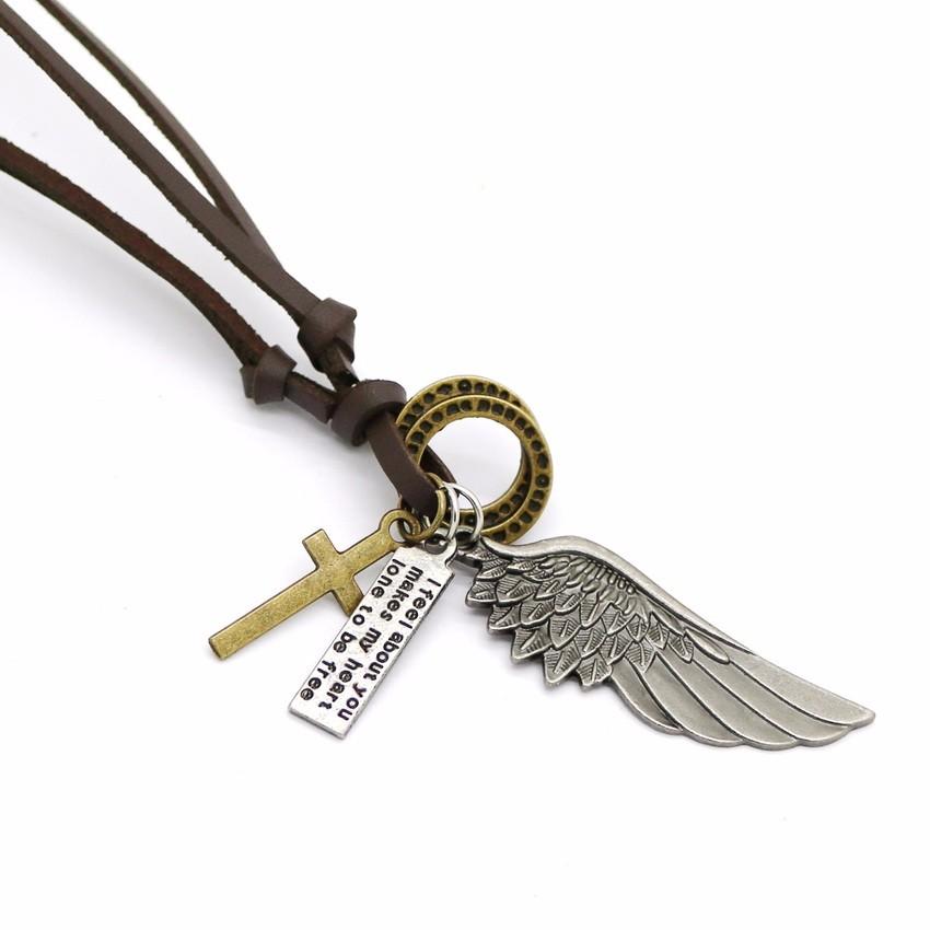 Мужское кожаное ожерелье с подвеской в стиле «Ретро»