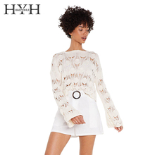 HYH HAOYIHUI 2019 Gils  Fashion Summer While Solid Pointelle Relaxed Women Pullovers Flare Sleeve Thin Sweet Sexy Sweater