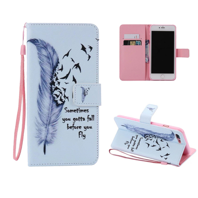 buy online 9a0b9 982c9 US $5.39 10% OFF|Lanyard Wallet Cases For iphone 5 5s 5c PU Leather Cell  Phone Flip Case Cover For iphone se phone bag With Card Stand-in Flip Cases  ...