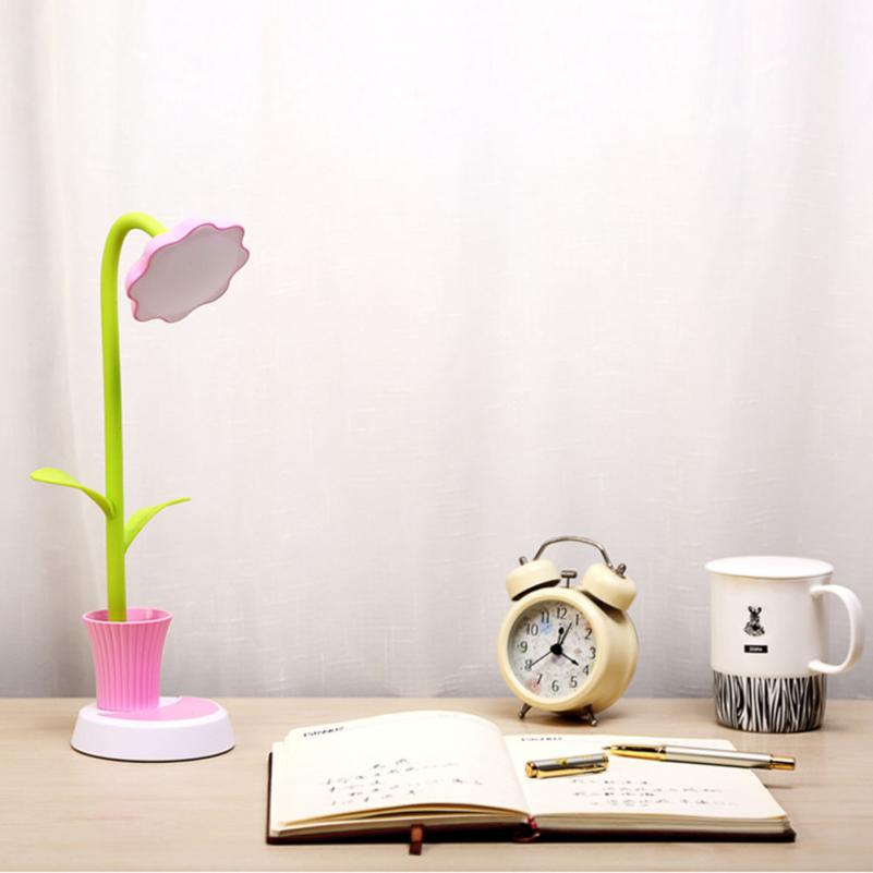 2017 New Sunflower LED Charging Desk Lamp Support Eye Protection Small Desk Folding A88
