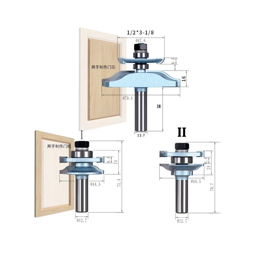 SHINA 1 2 Shank 3PCS Frame Cabinet Door font b Knife b font Tenon Woodworking Milling