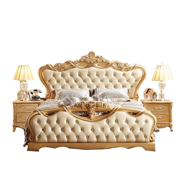 High End Luxury Solid Wood Bed Marriage Bed High Quality European