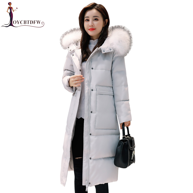 Winter Large Size Outerwear Coat Women Down Jacket 2018 New Fashion Female Parkas Long Warm Big Fur Collar Hooded Down Coat X360