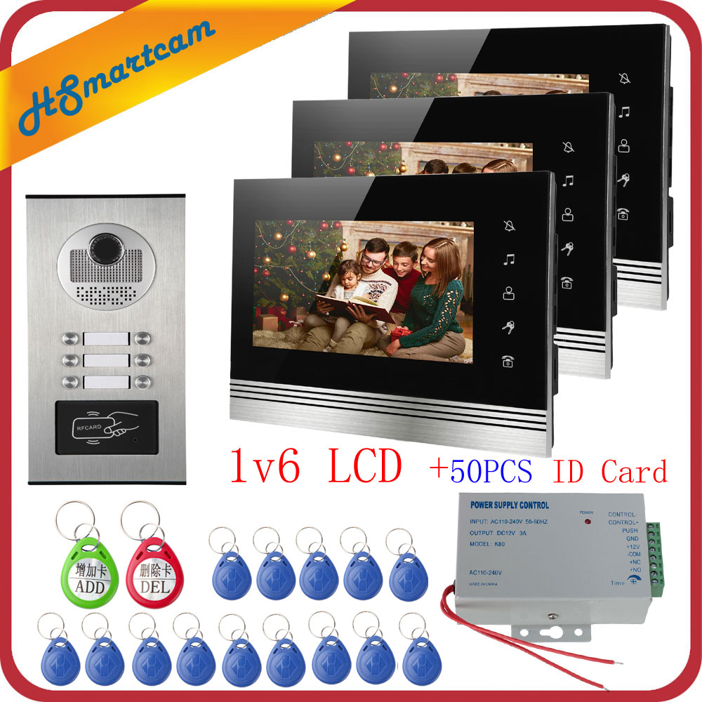 Home 7 Inch TFT Color Video Intercom Door Phone System Inductive Card Camera Metal 700TVL With 6 Monitor For Multi Apartments
