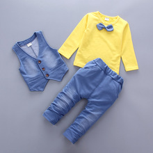 3 Piece Denim Style With Tie Clothing Suit