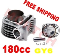 Chinese scooterGY6 parts180cc High Performance Cylinder Kits for 125cc 150cc (61mm) for Scooter ATV Go Karts Moped Free Shipping