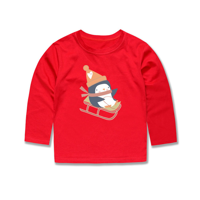 Christmas Tops.Us 4 31 40 Off Little Bitty 2019 Children T Shirts Kids Penguin T Shirts Boys Girls Christmas Tops Baby Long Sleeve Tees For 1 14 Years Boys In