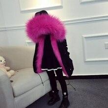 Dziewczyny płaszcz zimowy sztuczne futro z lisa Liner odpinane kurtki dziecięce odzież wierzchnia dla dzieci dziewczynek gruby, ciepły płaszcz Parka dla chłopca