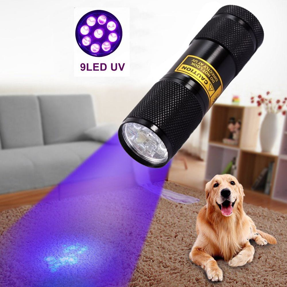 ALONEFIRE 9 Led 395nm Ultra violet flash light Cat Dog Pet urine Money Hotel UV Detector Mini flashlight Travel Lamp AAA battery in LED Flashlights from Lights Lighting