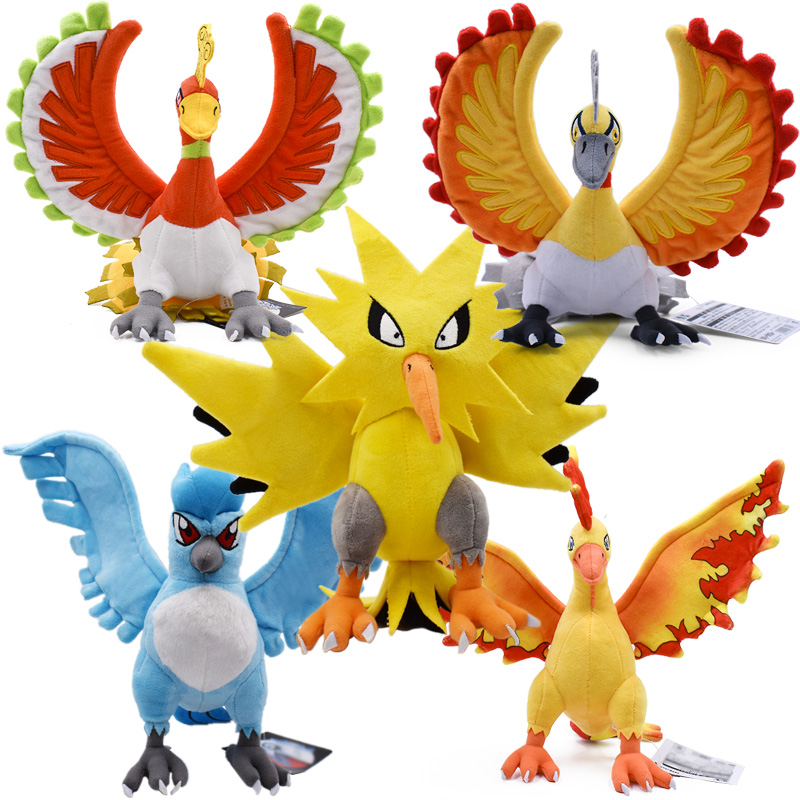 11-12inch 5Styles Zapdos&Articuno&Moltres&Ho-oh&Ho-oh Shiny  Cute Plush Toys Children Soft PP Cotton Kids Birthday Christmas