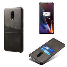 Classic PU Leather Phone Cover Case For Oneplus 6T 6 5 5T 7 Dual Card Wallet Pocket Back Shell Holder Slots