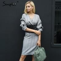 Simplee Sexy Half Sleeve Winter Dress Women Slim Autumn V Neck Bodycon Dress Vintage 2017 Back