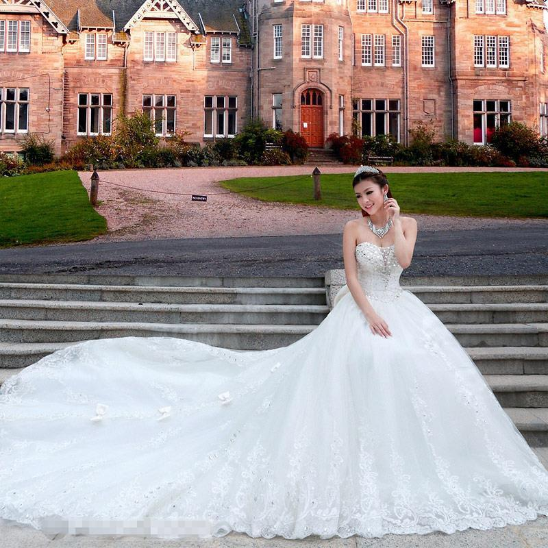 Lace Luxury Princess Wedding Dresses Ball Gown Royal Train Bling Tulle Crystal Gowns Bride Robe De Mariage In From