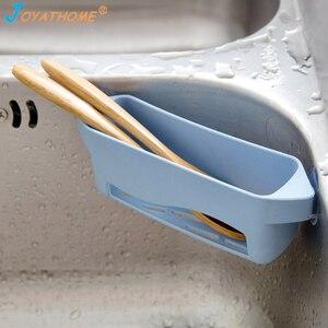 Image 4 - Joyathome creativo cocina esponja drenaje Rack tipo ventosa cepillo de hueco fregadero estante organizador para fregadero desagüe