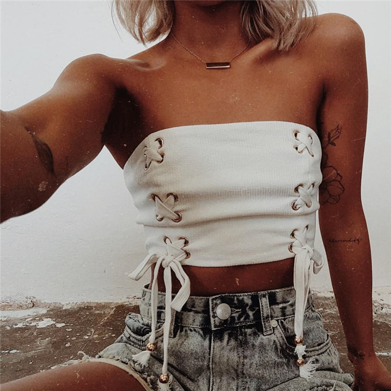EIFER streetwear lace up tube top ribbed off shoulder tank top sexy strapless camis 2018 summer crop top short clothing