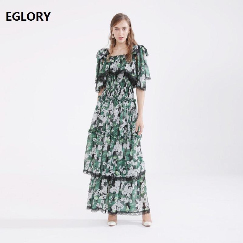 Nouveau 2019 printemps été longue robe de haute qualité femmes col carré vert feuilles fleur imprimé dentelle Patchwork bohème Maxi robe