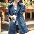 Горячая Sale2016 Новые Поступления Мода Уличная Осень Девушки Средние и Длинные Джинсовые Куртки Случайные Джинсы Двойной Грудью Пальто 103E 30